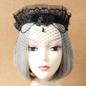 Gothic Lolita Jewelry Lace Jewel Metallic Chain Black Lolita Headdress