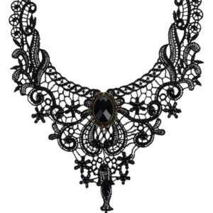 Gothic Lolita Necklace Black Lace Cut Out Heart And Flower Lolita Choker Collar