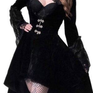 Gothic Lolita OP Dress Black Lace Cut Out Metal Details Lolita One Piece Dresses