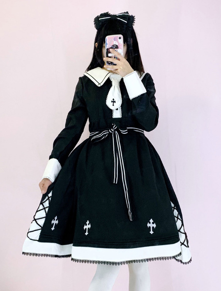 Gothic Lolita OP Dress Cross Embroidered Lace Black Lolita One Piece Dress