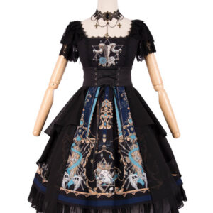 Gothic Lolita OP Dress God Redemption Print Lace Black Short Sleeves Lolita One Piece Dresses Original Design