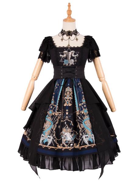 Gothic Lolita OP Dress God Redemption Print Lace Black Short Sleeves Lolita One Piece Dresses Original Design