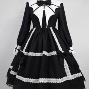 Gothic Lolita OP Dress Lace Pointed Collar Black Lolita One Piece Dresses
