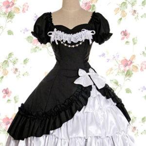 Gothic Lolita OP Dress Lace Ruffle Bow Lolita One Piece Dress