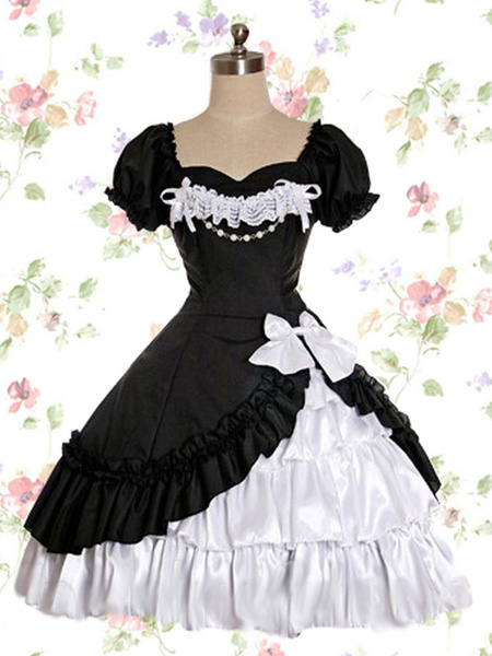 Gothic Lolita OP Dress Lace Ruffle Bow Lolita One Piece Dress
