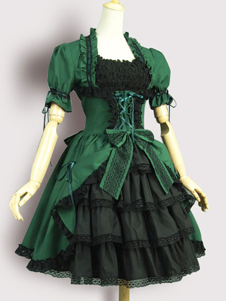 Gothic Lolita OP One Piece Dress Square Neck Short Sleeve Lace Up Ruffles Green Lolita Dress
