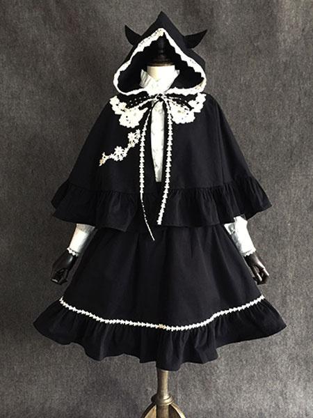 Gothic Lolita Poncho Little Devil Lace Trim Ear Hooded Cotton Black Lolita Cape
