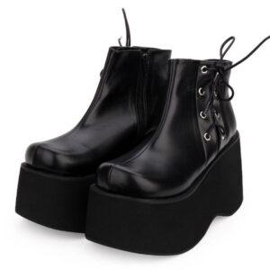 Gothic Lolita Pumps Flatform Black Lace Up PU Leather Lolita Shoes