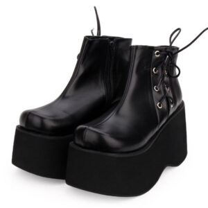 Gothic Lolita Pumps Flatform Black Lace Up PU Leather Lolita Shoes