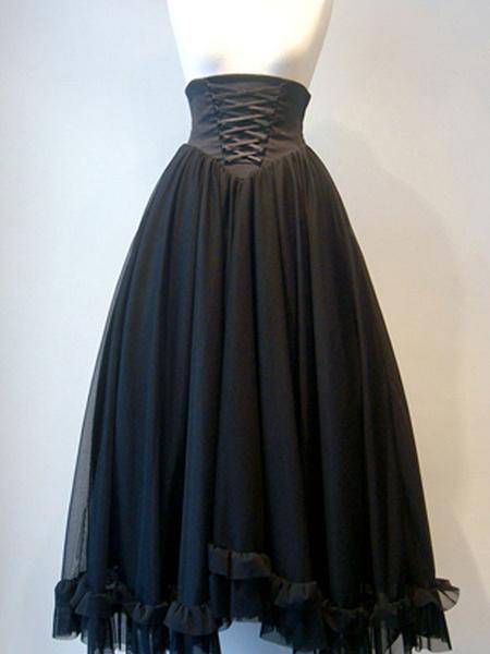 Gothic Lolita SK Lace Up Black Lolita Skirts