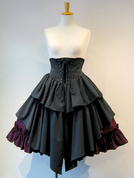 Gothic Lolita SK Lace Up Blue Color Block Lolita Skirts
