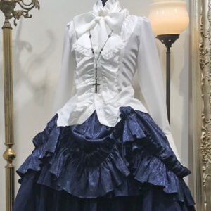 Gothic Lolita SK White Lace Up Ruffles Lolita Skirts