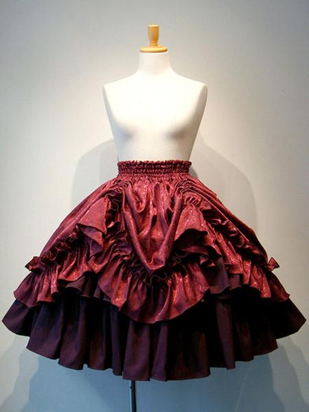 Gothic Lolita SK White Lace Up Ruffles Lolita Skirts