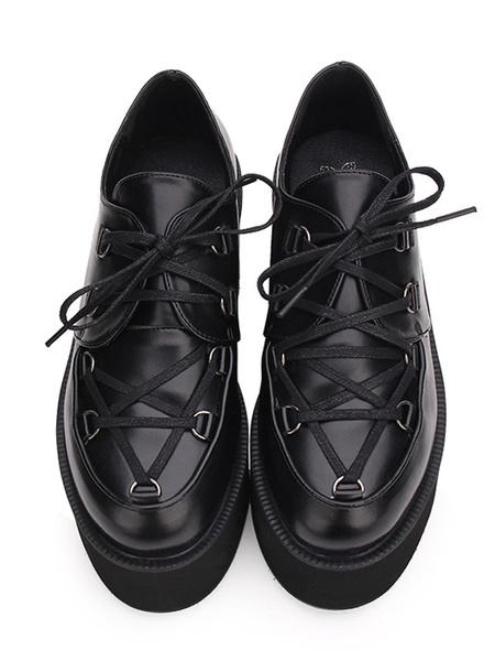 Gothic Lolita Shoes Black Flatform Lace Up Round Toe PU Leather Lolita Pumps