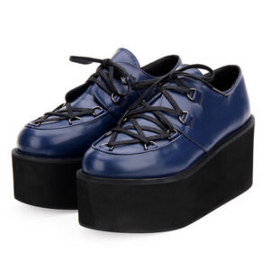 Gothic Lolita Shoes Black Flatform Lace Up Round Toe PU Leather Lolita Pumps