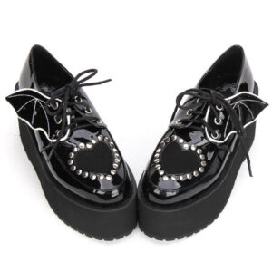 Gothic Lolita Shoes Black Lace Up Platform Studded Gothic Lolita Footwear