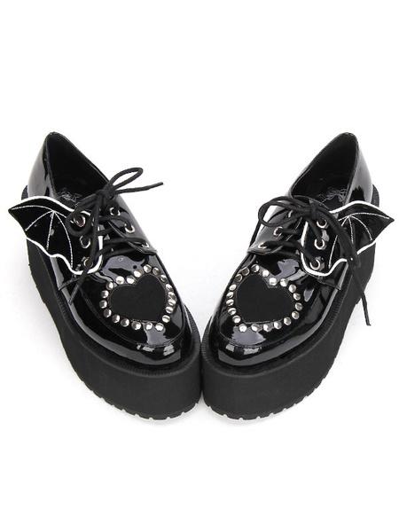 Gothic Lolita Shoes Black Lace Up Platform Studded Gothic Lolita Footwear