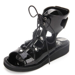 Gothic Lolita Shoes Open Toe Lace Up Wedge Heel PU Flat Black Lolita Sandals