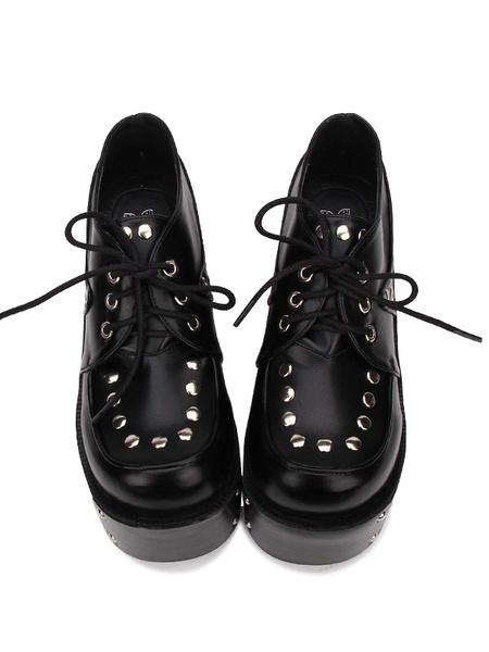 Gothic Lolita Shoes Rivet Lace Up Platform PU Black Lolita Footwear