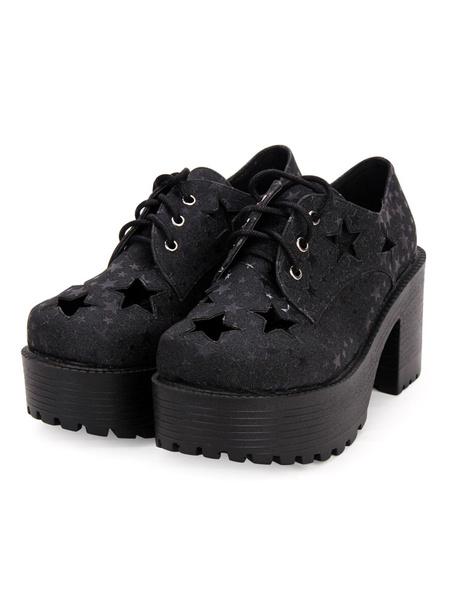 Gothic Lolita Shoes Starlet Pattern Cut Out Lace Up Black Lolita Flatform Shoes