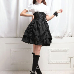 Gothic Lolita Skirt Ruffles Ruched Lace Up Layered Black Lolita Bottom