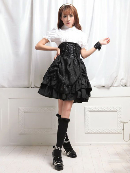 Gothic Lolita Skirt Ruffles Ruched Lace Up Layered Black Lolita Bottom