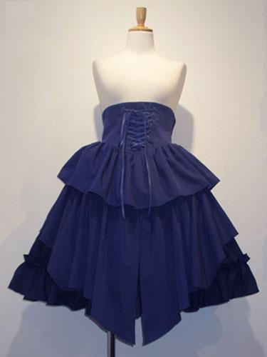 Gothic Lolita Skirt SK Cotton Lace Up Ruffles Pleated Black Lolita Skirt