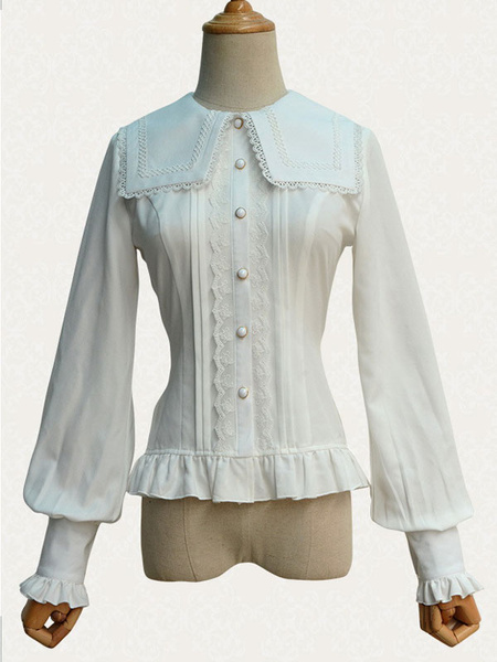 Gothic Lolita Top Lace Chiffon Long Sleeves Lolita Blouse With Square Collar