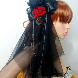 Gothic Lolita Veil Tulle Lace Trim Hat Floral Two Tone Bow Black Lolita Headdress