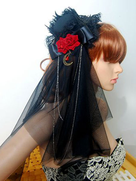 Gothic Lolita Veil Tulle Lace Trim Hat Floral Two Tone Bow Black Lolita Headdress