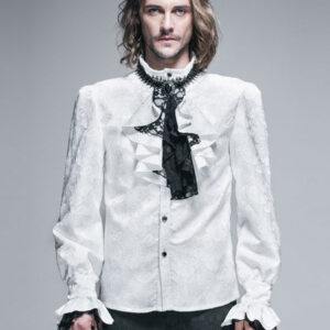 Gothic Shirts Men Halloween Costume White Top Long Sleeve Ruffles Lace Retro Blouses