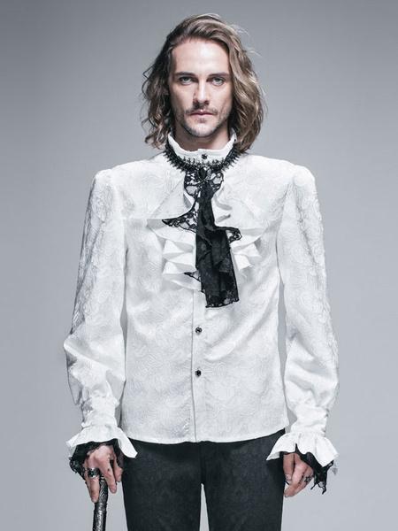 Gothic Shirts Men Halloween Costume White Top Long Sleeve Ruffles Lace Retro Blouses