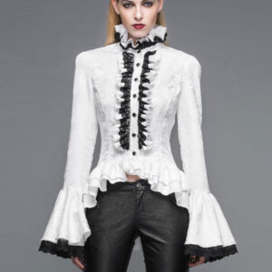 Gothic Shirts Women Halloween Costume Bell Sleeve Ruffles Lace Retro Blouses