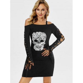 Gothic Skull Embroidery Lace Up Sleeve Dress