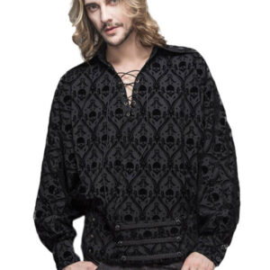 Gothic Top Halloween Costume Men Black Long Sleeve Lace Up Shirts