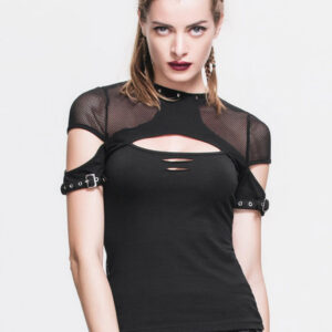Gothic Top Halloween Costume Women Black Cut Out Lace Up Punk Rave T Shirt