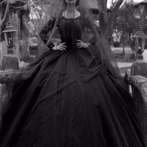 Gothic Wedding Dresses Princess Silhouette Long Sleeves Lace Taffeta Court Train Vintage Bridal Gown