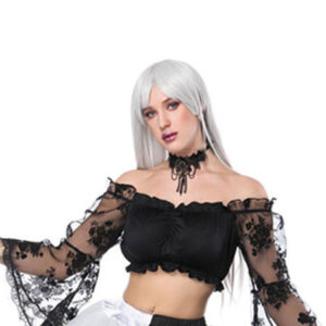 Halloween Costume Gothic Women Black Lace Bell Sleeve Crop Top
