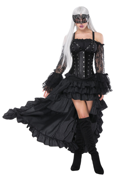 Halloween Costume Steampunk Women Black Vintage Ruffles High Low Corset And Skirt