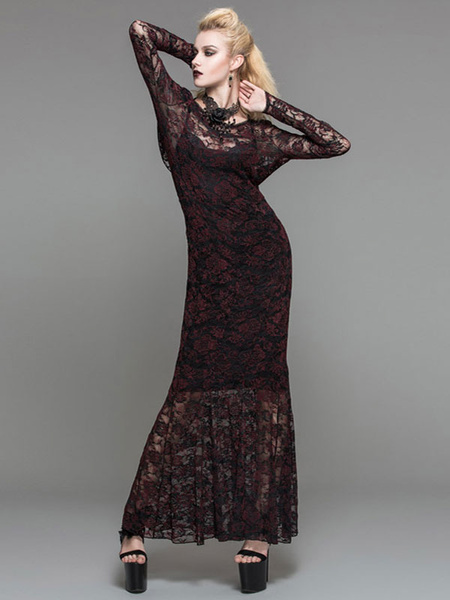 Halloween Gothic Costume Lace Cover Up Women Long Sleeve Sheer Maxi Dress