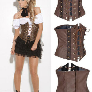 Halloween Steampunk Corset Women's Brown Lace Up PU Retro Costume Halloween