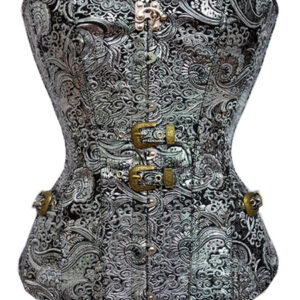 Halloween Steampunk Costume Corset Silver Jacquard Strapless Cincher Top Women Waist Trainer