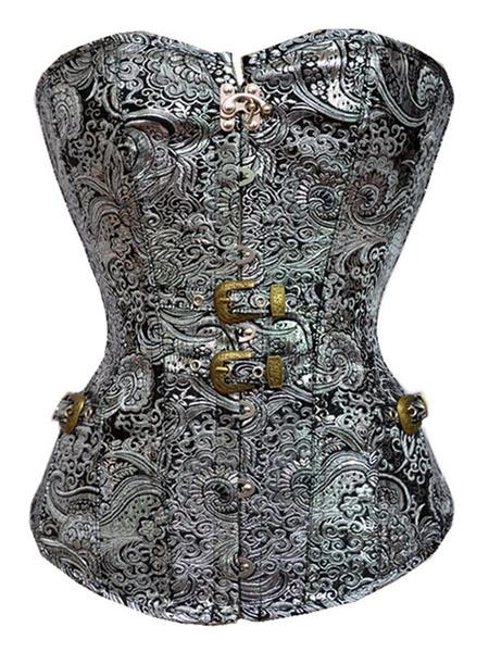 Halloween Steampunk Costume Corset Silver Jacquard Strapless Cincher Top Women Waist Trainer