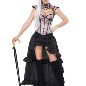 Halloween Steampunk Costume Women Pink Tiered Ruffles Skirt And Corset