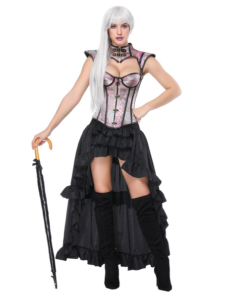 Halloween Steampunk Costume Women Pink Tiered Ruffles Skirt And Corset