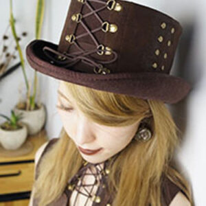 Halloween Steampunk Hat Brown Beaded Lace Up Flat Top Hat Women's Steampunk Accessories Halloween