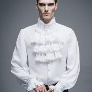 Men's Steampunk Shirt White Ruffle Vintage Retro Costume Top Halloween