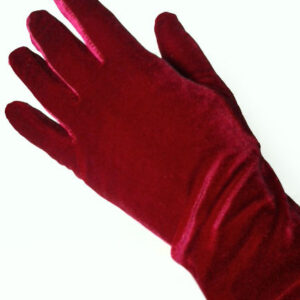 Red Wedding Gloves Flannel Fingertips Wrist Length Evening Gloves For Women