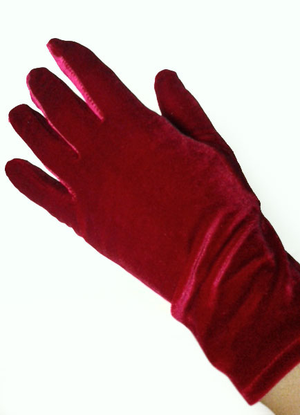 Red Wedding Gloves Flannel Fingertips Wrist Length Evening Gloves For Women