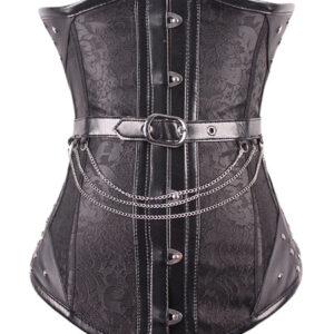 Retro Steampunk Corset Metallic Chain Buckle Lace Vintage Corselet For Women